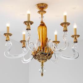 Итальянская люстра BAROCCO S6/Amber-Gold фабрики EUROLUCE LAMPADARI