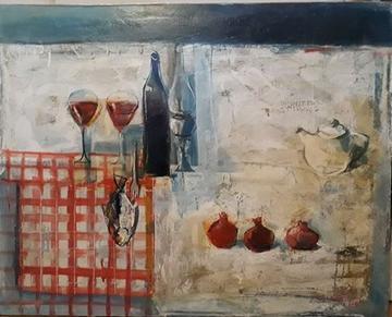 """Картина """"Натюрморт с гранатами"""",  70х90, холст, масло, Эльдар Кавшбая, 2004г."""