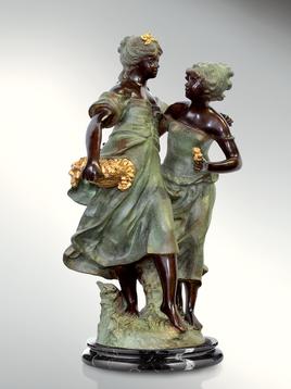 Итальянская бронзовая статуя Flowers seller girl фабрики Fonderia Artistica Ruocco