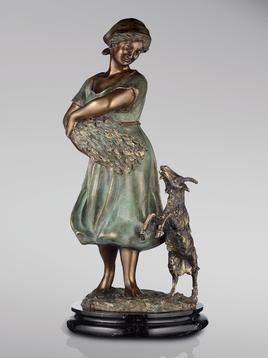 Итальянская бронзовая статуя Shepherdess фабрики Fonderia Artistica Ruocco